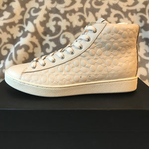Coach Signature Leather High Top Sneakers Chalk